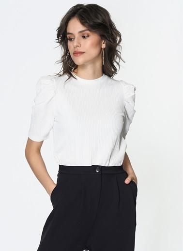 Loves You Prenses Kol Petek Doku Likralı Bluz Ekru